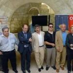 De izqierda a derecha, Leopoldo Giménez, Mauricio Blanco, Santiago Moreno, Ángel Varea, Serafín Zubiri, Enrique Varela y Rubén Gil.